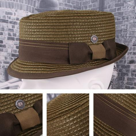 Dasmarca Retro Rude Boy Rico Straw Trilby / Pork Pie Hat Brown