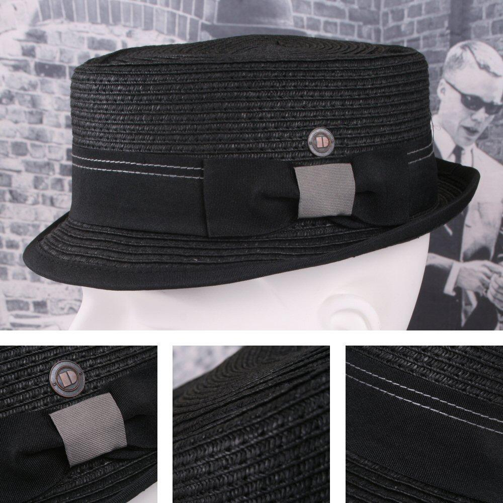 Dasmarca Retro Rude Boy Rico Straw Trilby / Pork Pie Hat Black