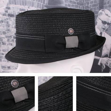 Dasmarca Retro Rude Boy Rico Straw Trilby / Pork Pie Hat Black Thumbnail 1