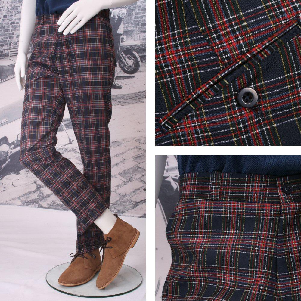 Relco Mod 60's Retro Sta Press Tartan Check Trousers Navy