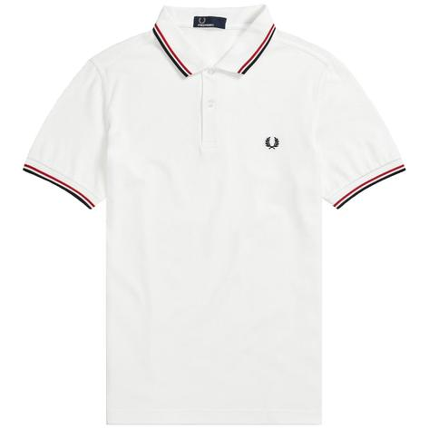 Fred Perry Mod 60's Laurel Wreath Pique Knit Tipped Polo Shirt White Thumbnail 1