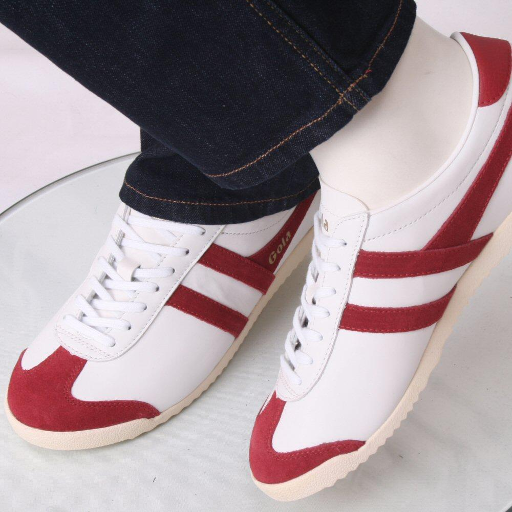 Gola Bullet Classic Leather Lace Up Trainer White / Deep Red
