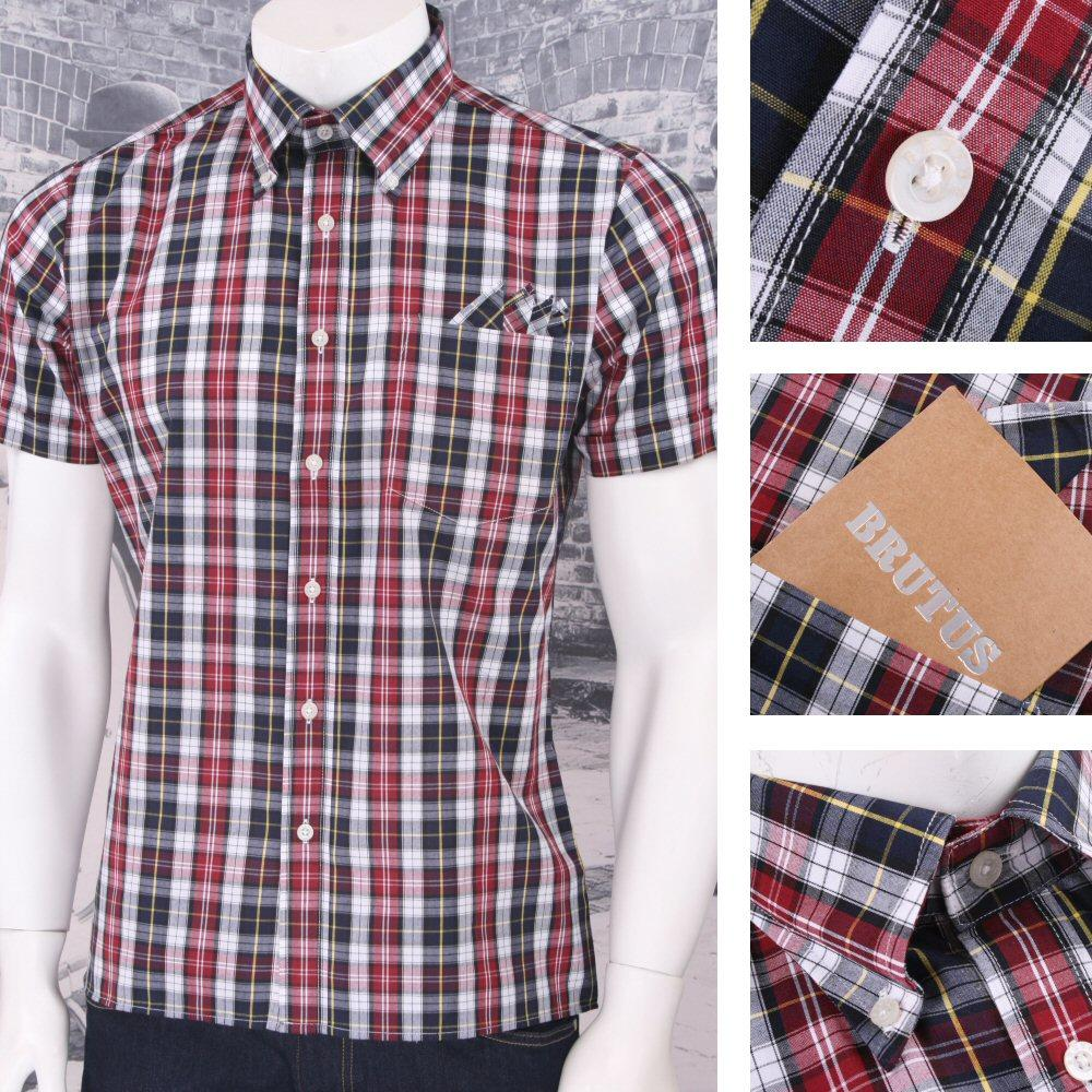 Brutus Trimfit Mod Skin Retro Check S/S Shirt Navy / Burg / Yellow