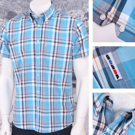 Get Up REGULAR FIT Button Down S/S Window Pane Check Shirt Aqua Thumbnail 1