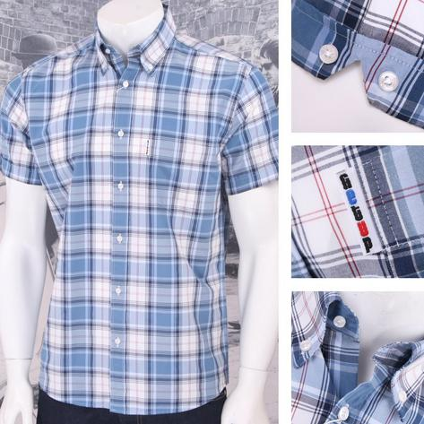 Get Up REGULAR FIT Button Down S/S Window Pane Check Shirt Blue Thumbnail 1