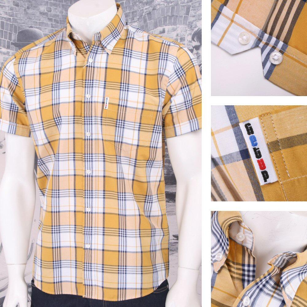 Get Up REGULAR FIT Button Down S/S Window Pane Check Shirt Mustard