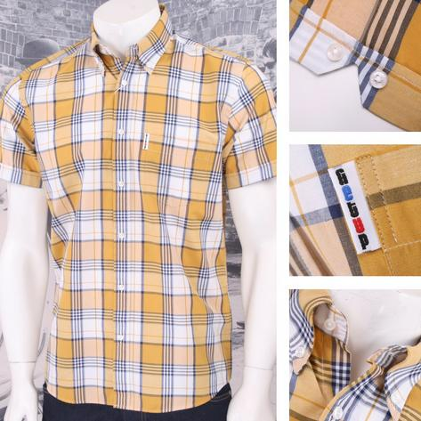 Get Up REGULAR FIT Button Down S/S Window Pane Check Shirt Mustard Thumbnail 1