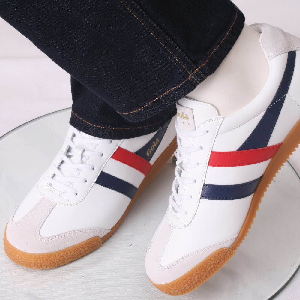 Gola Harrier Classic Leather Lace Up Trainer Blanco / / / Navy / Red 1ad128