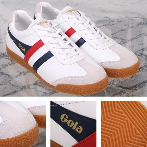 Gola Harrier Classic Leather Lace Up Trainer White / Navy / Red Thumbnail 1