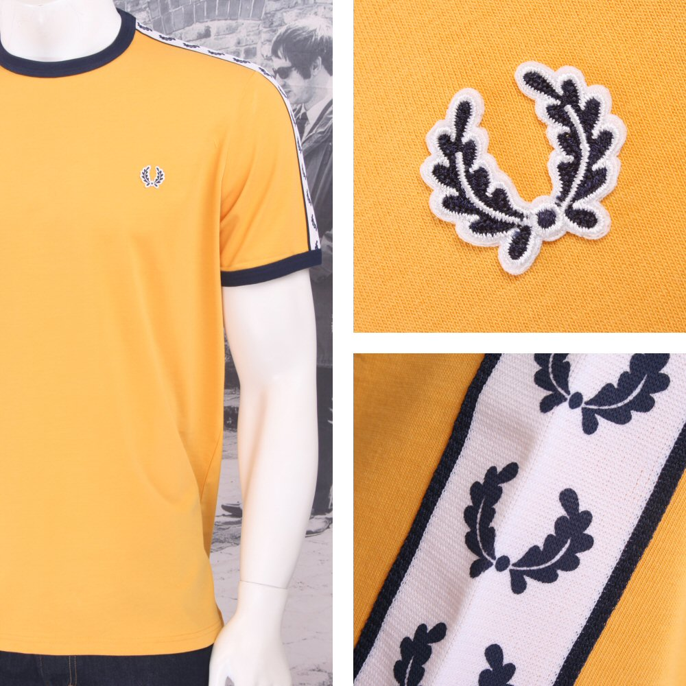 69001411b Fred Perry Mod 60 s Laurel Wreath Authentic Taped Ringer T-Shirts ...