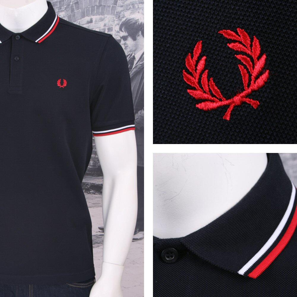 bd2b73f7 /Fred Perry Mod 60's Laurel Wreath Pique Knit Tipped Polo Shirt Navy /  White | Adaptor Clothing