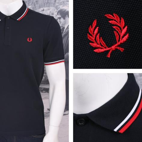 Fred Perry Mod 60's Laurel Wreath Pique Knit Tipped Polo Shirt Navy / White Thumbnail 1