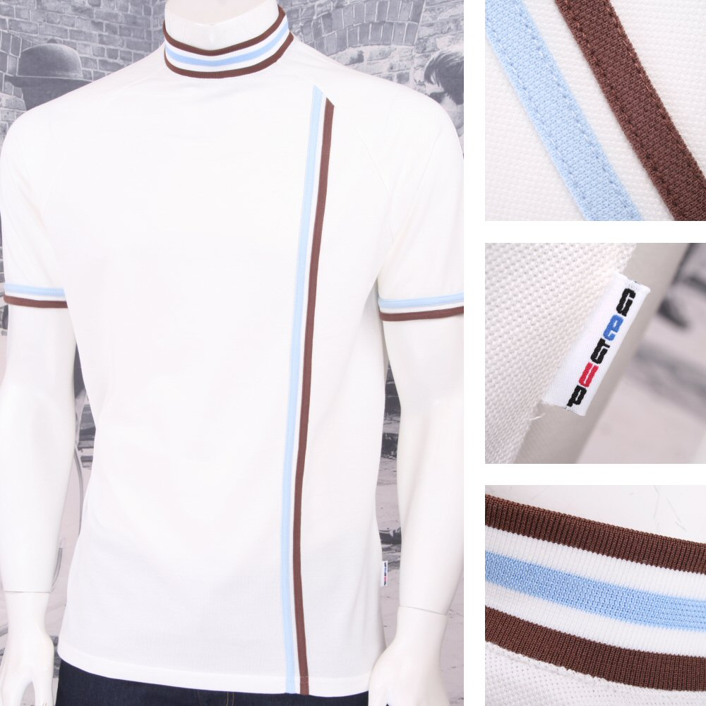 Get Up Turtle Neck All Cotton Pique Racing Stripe S S