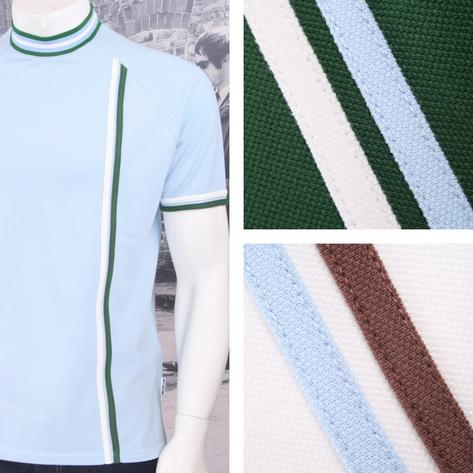 Get Up Turtle Neck All Cotton Pique Racing Stripe S/S Retro Sports T-shirt Thumbnail 1