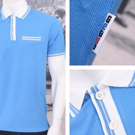 Get Up 3 Button All Cotton Pique Short Sleeve Retro Sports Polo Shirt Thumbnail 2