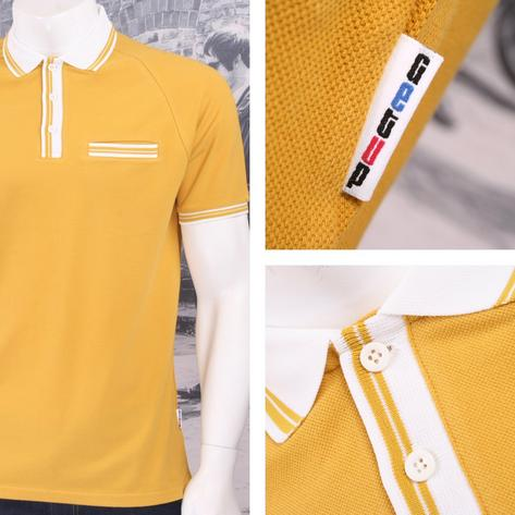 Get Up 3 Button All Cotton Pique Short Sleeve Retro Sports Polo Shirt Thumbnail 5