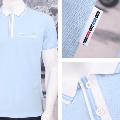 Get Up 3 Button All Cotton Pique Short Sleeve Retro Sports Polo Shirt Thumbnail 4