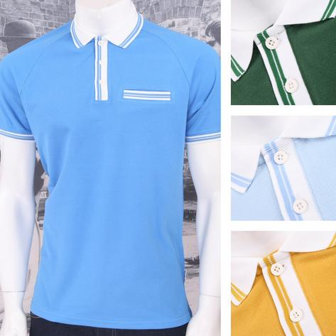 Get Up 3 Button All Cotton Pique Short Sleeve Retro Sports Polo Shirt Thumbnail 1