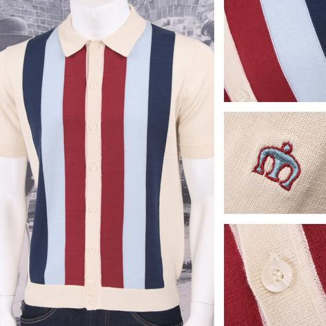 Merc London Mod Retro 60's Vertical Stripe Button Up Knit Polo Shirt Thumbnail 3