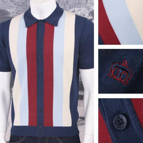 Merc London Mod Retro 60's Vertical Stripe Button Up Knit Polo Shirt Thumbnail 2