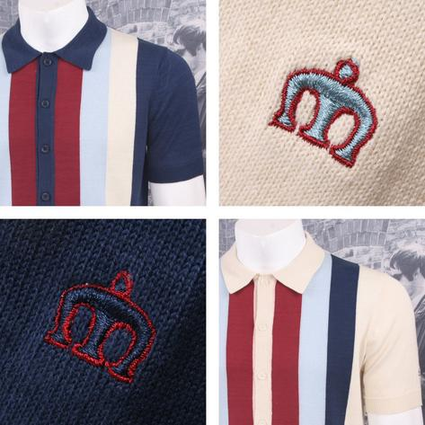 Merc London Mod Retro 60's Vertical Stripe Button Up Knit Polo Shirt Thumbnail 1