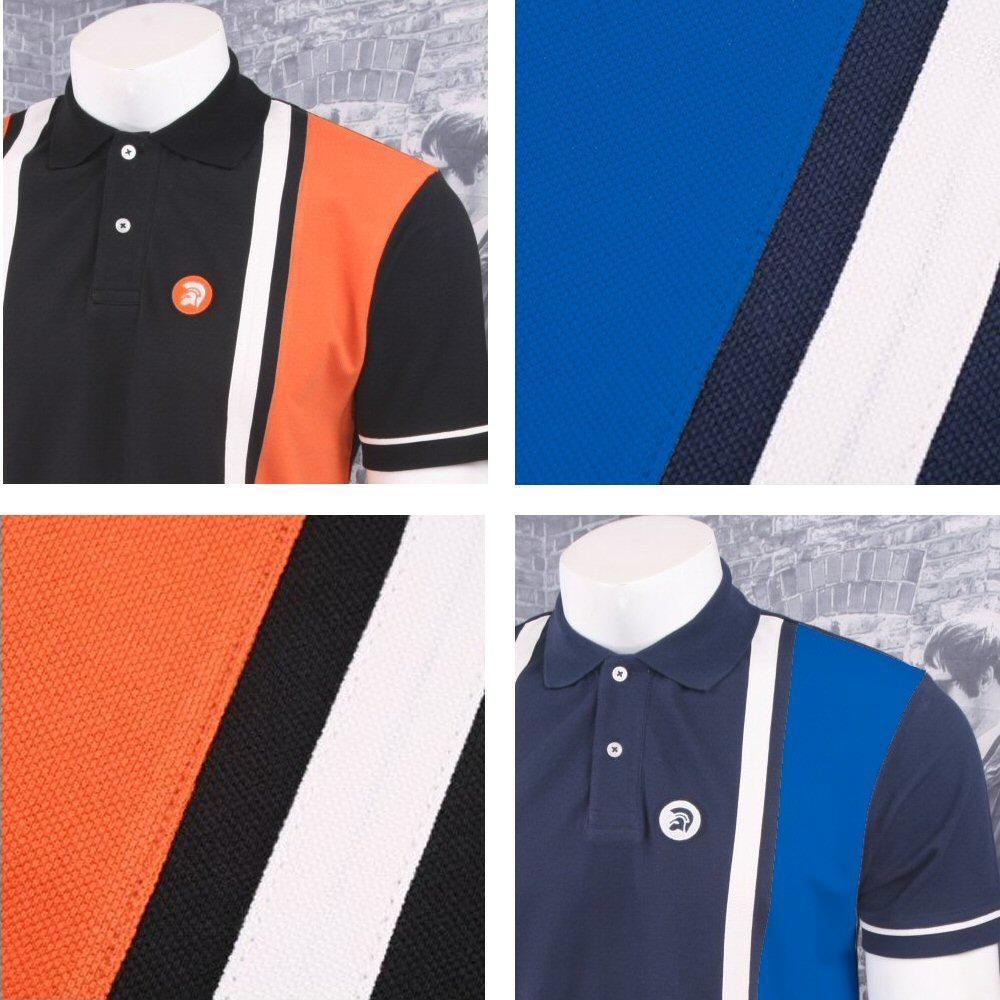 6970879fb Trojan Records Retro Mod 60 s Vertical Stripe Panel Pique Polo Shirt ...