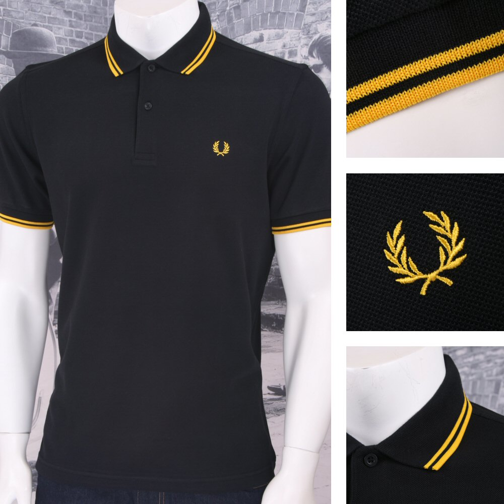 5a5d1bbd /Fred Perry Mod 60's Laurel Wreath Pique Knit Tipped Polo Shirt Black /  Yellow | Adaptor Clothing