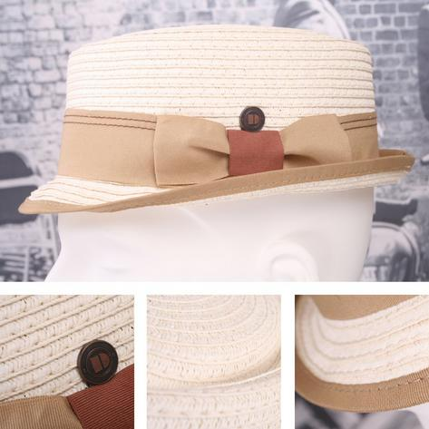 Dasmarca Retro Rude Boy Rico Straw Trilby / Pork Pie Hat Ivory Thumbnail 1