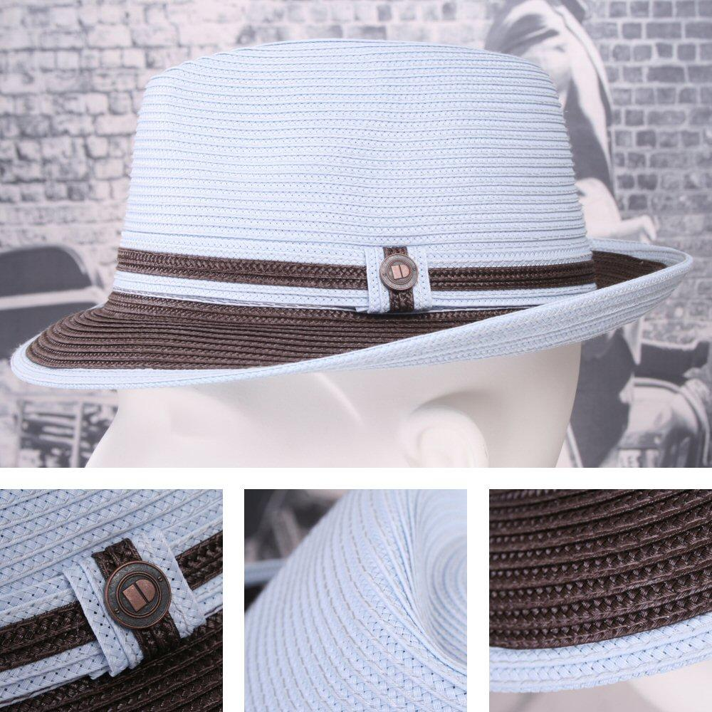 Dasmarca Retro Rude Boy Raynor Straw Trilby / Pork Pie Hat Sky Blue