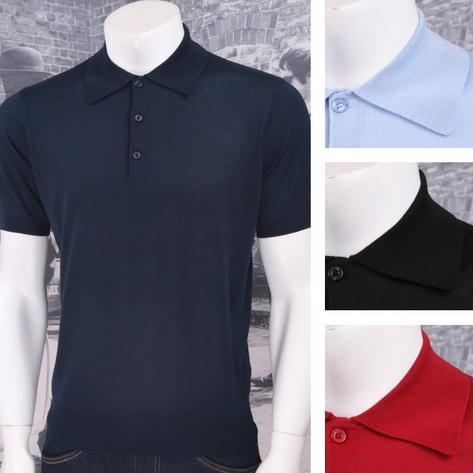 Art Gallery 60's Retro Mod 3 Button Short Sleeve Plain Knit Polo Shirt