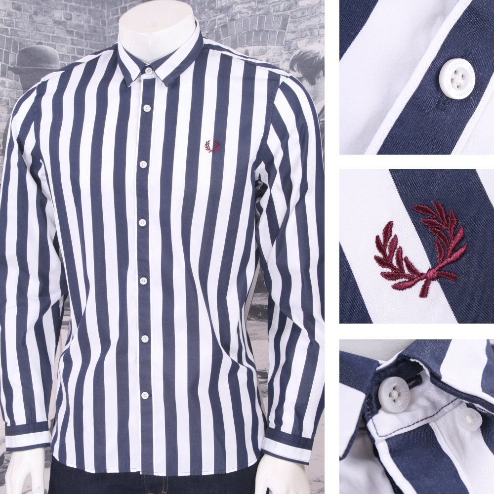 19b1c5f3bb Fred Perry Mod 60 s Button Down L S Bold Stripe Shirt Navy   White  Thumbnail ...