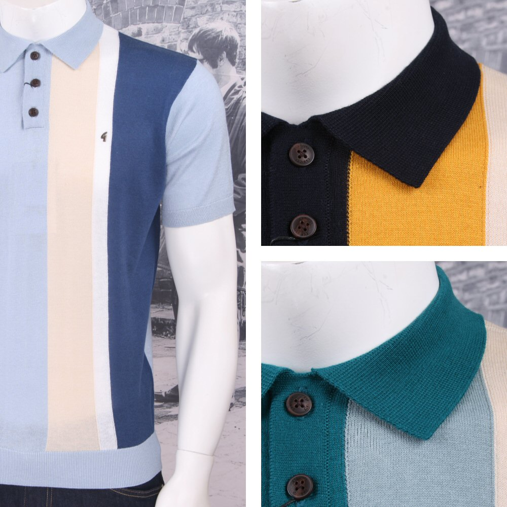 2acbed0b Gabicci Vintage Mod Retro 60's Half Panel 3 Button S/S Polo Shirt Thumbnail  1 ...