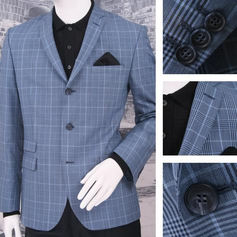 Adaptor Clothing Mod 60's Retro Ivy League 3 Button Overcheck Sports Jacket Blue Thumbnail 1