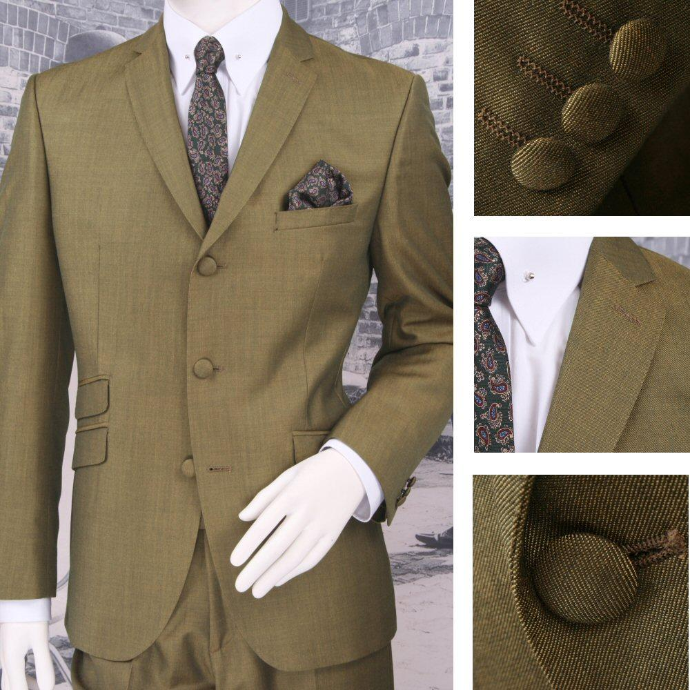 Adaptor Clothing Mod 60's Retro Tonic 3 Button Slim Mohair Suit Green/Gold