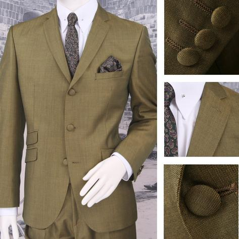 Adaptor Clothing Mod 60's Retro Tonic 3 Button Slim Mohair Suit Green/Gold Thumbnail 1