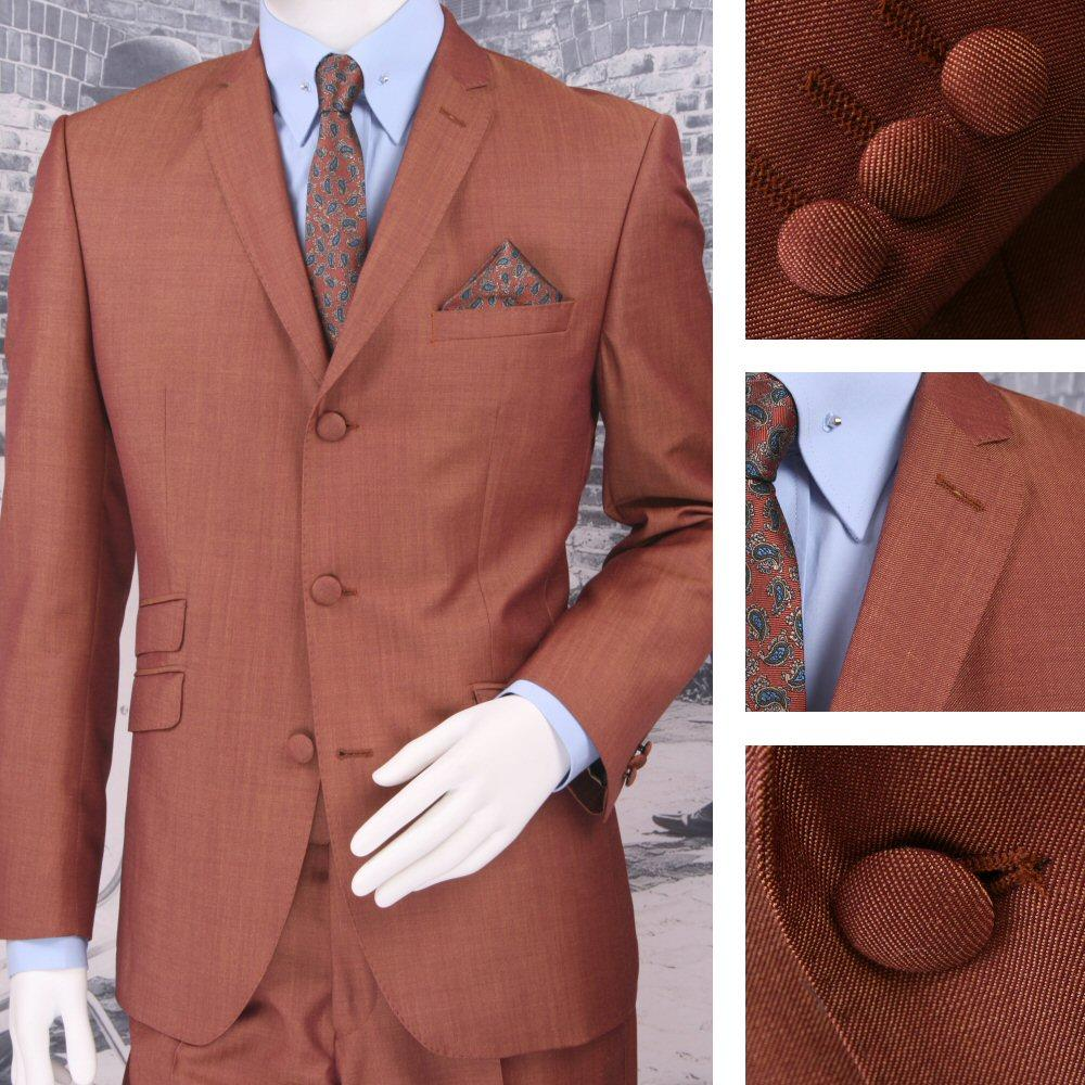 Adaptor Clothing Mod 60's Retro Tonic 3 Button Slim Mohair Suit Burg/Gold