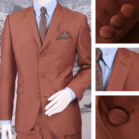 Adaptor Clothing Mod 60's Retro Tonic 3 Button Slim Mohair Suit Burg/Gold Thumbnail 1