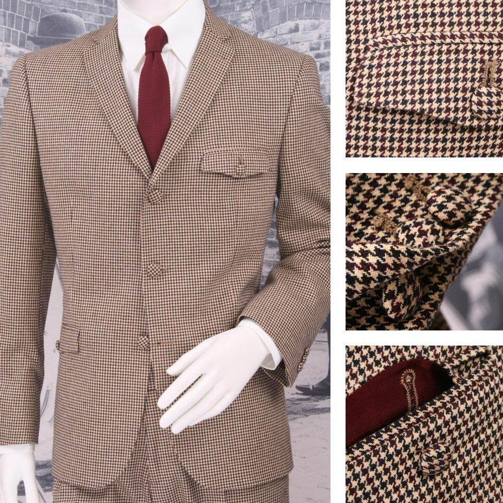 Adaptor Clothing Mod 60's Retro Dogtooth 3 Button Slim Italian Wool Suit Cream
