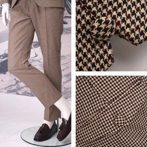 Adaptor Clothing Mod 60's Retro Dogtooth 3 Button Slim Italian Wool Suit Cream Thumbnail 2