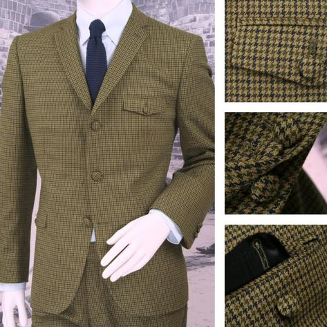 Adaptor Clothing Mod 60's Retro Dogtooth 3 Button Slim Italian Wool Suit Green Thumbnail 1