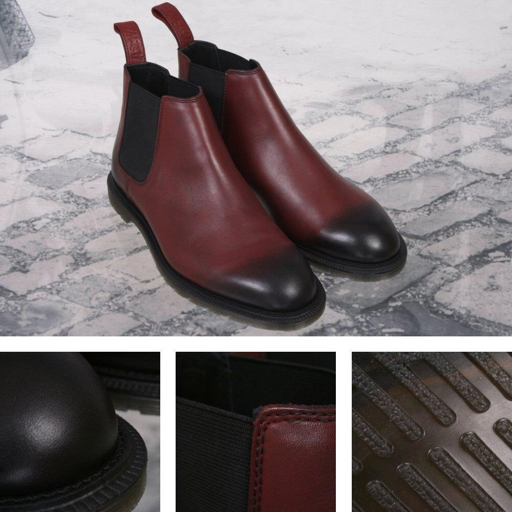 New Dr. Martens Low Cut Goodyear-welted Chelsea Boot Cherry Red