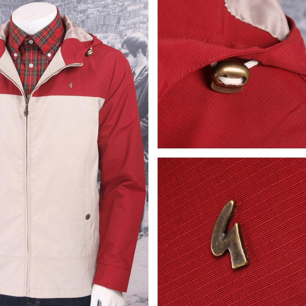 Gabicci Vintage Mod Retro 60's Hooded Zip Ripstop Festival Jacket Red