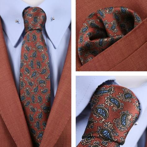 Knightsbridge Retro Mod 60's Matching Paisley Silk Slim Tie and Pocket Square Co Thumbnail 1