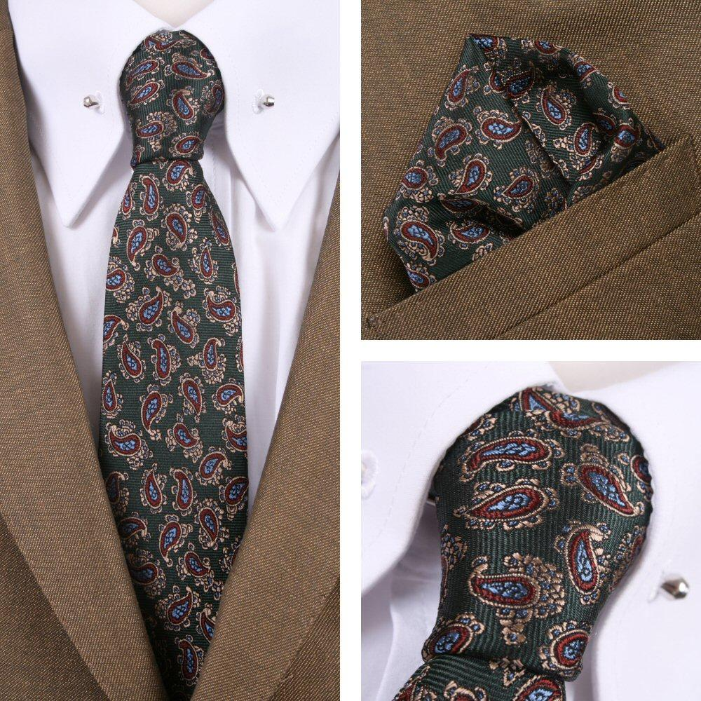 Knightsbridge Retro Mod 60's Matching Paisley Silk Slim Tie and Pocket Square Gr