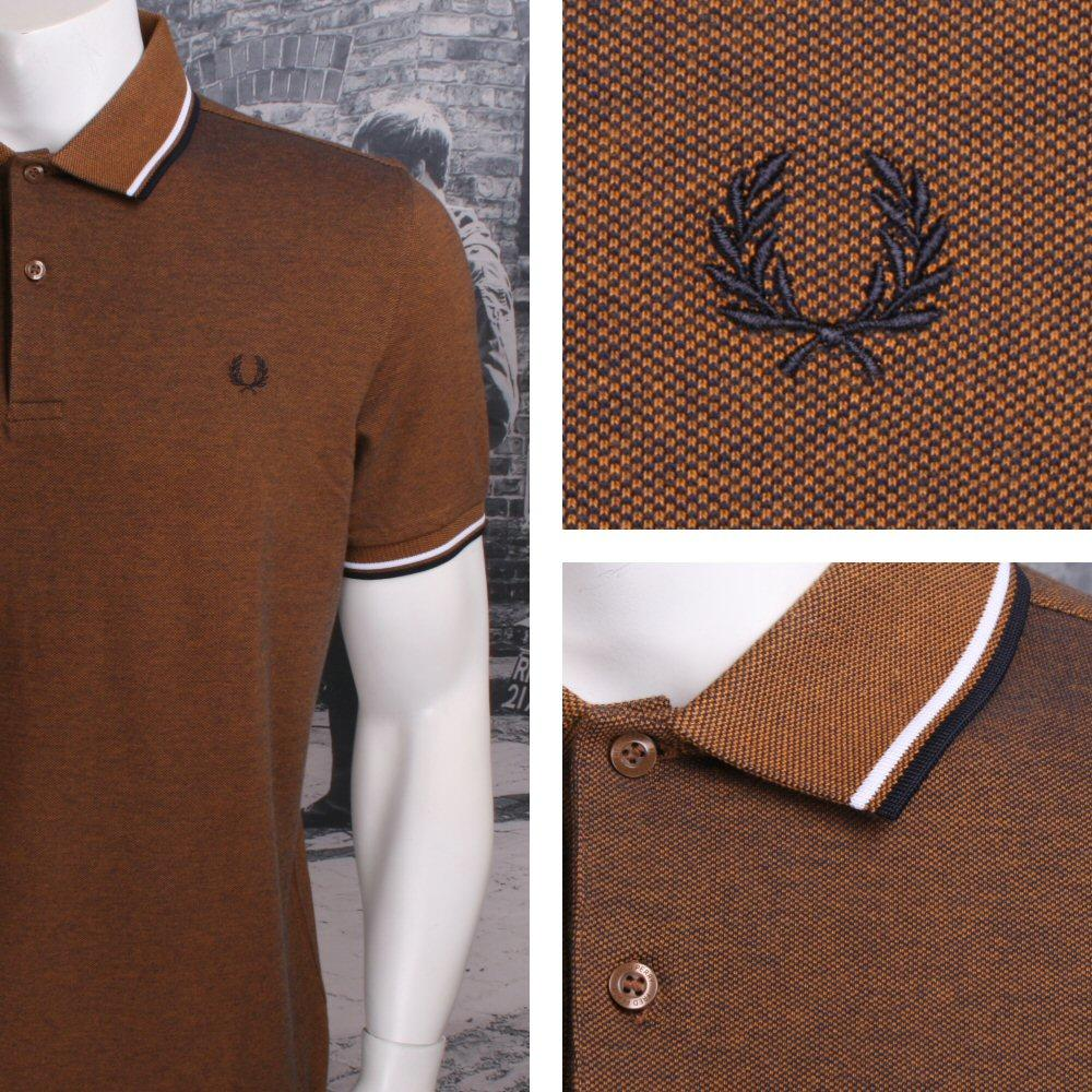 853198c5 Fred Perry Mod 60's Laurel Wreath Pique Knit Tipped Polo Shirt Amber Two  Tone | Adaptor Clothing