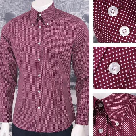 Art Gallery 60's Retro Mod Button Down Round Collar Pindot LS Shirt Thumbnail 2