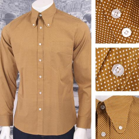 Art Gallery 60's Retro Mod Button Down Round Collar Pindot LS Shirt Thumbnail 3