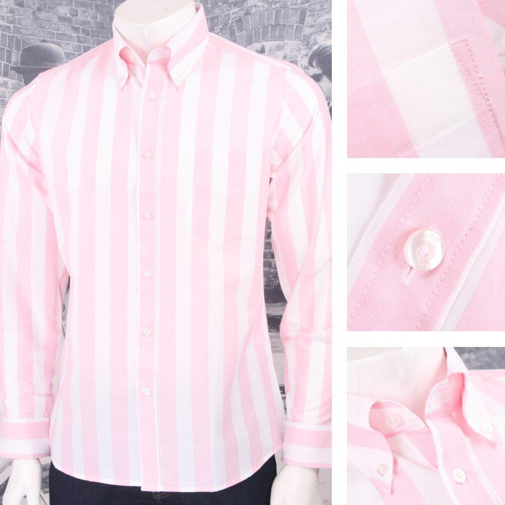 Art Gallery 60's Retro Mod Button Down Collar Candy Stripe LS Shirt Pink