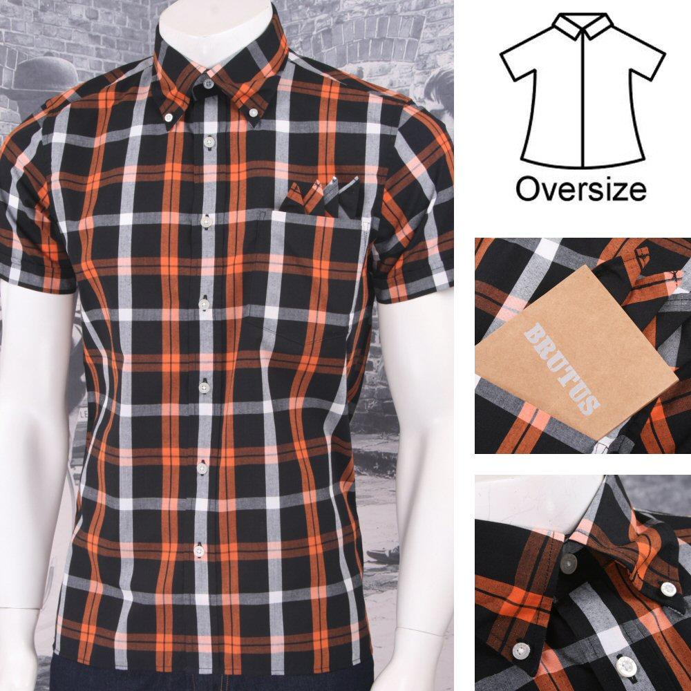 Brutus GREATFIT Mod Skin Retro Windowpane Check S/S Shirt Orange/White