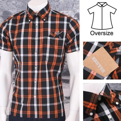 Brutus GREATFIT Mod Skin Retro Windowpane Check S/S Shirt Orange/White Thumbnail 1